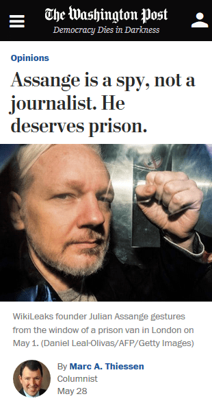 WaPo: Assange is a spy, not a journalist. He deserves prison.