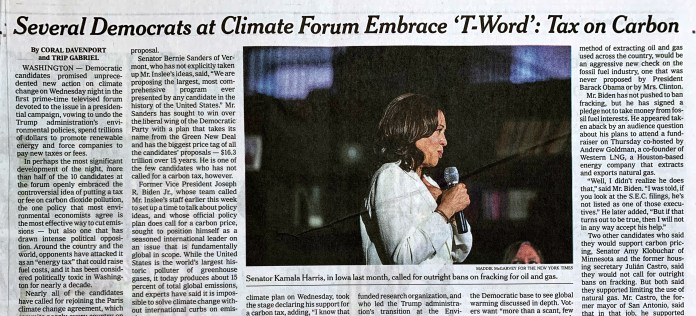 NYT: Several Democrats at Climate Forum Embrace 'T Word': Tax on Carbon