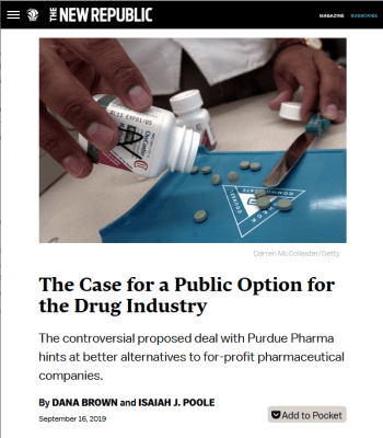 New Republic: The Case for a Public Option for the Drug Industry