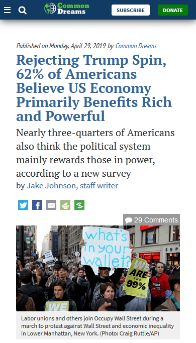 Common Dreams: Rejecting Trump Spin, 62% of Americans Believe US Economy Primarily Benefits Rich and Powerful