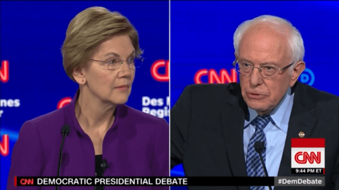 Elizabeth Warren and Bernie Sanders at the CNN Iowa debate