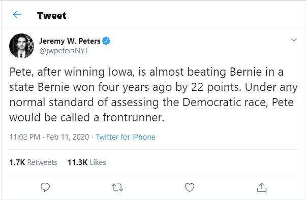 Twitter: Under any normal standard of assessing the Democratic race, Pete would be called a frontrunner.