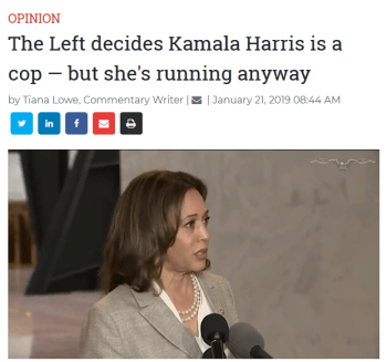 Washington Examiner: The Left decides Kamala Harris is a cop — but she's running anyway
