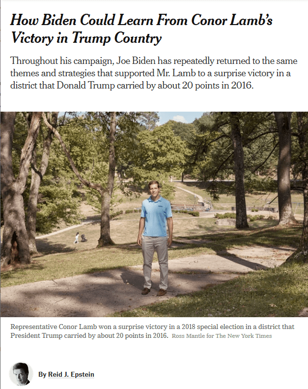 NYT: How Biden Could Learn From Conor Lamb's Victory in Trump Country