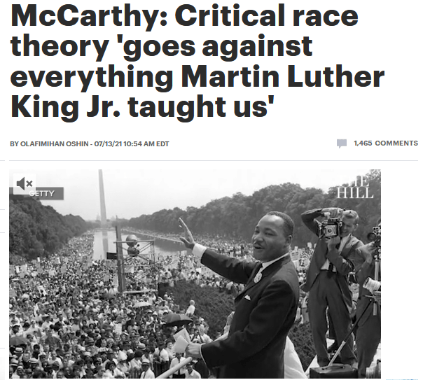 Hill: McCarthy: Critical race theory 'goes against everything Martin Luther King Jr. taught us'