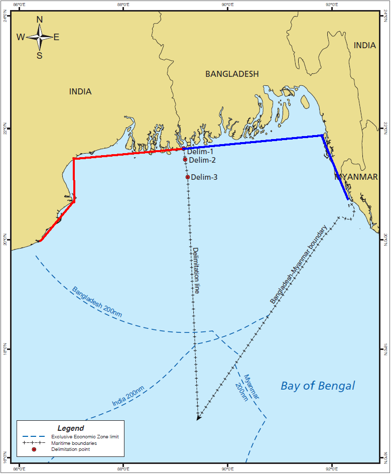 Figure 2: ITLOS & PCA Delimitation Lines with Bangladesh India Coastlines