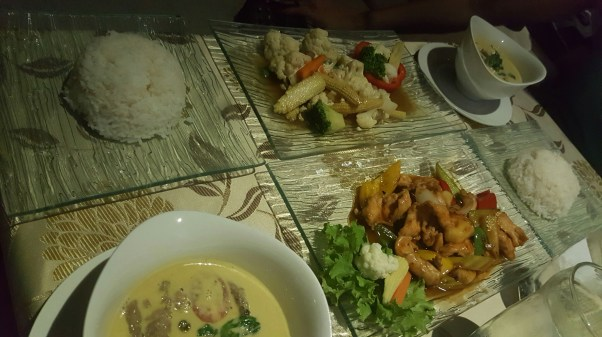 A selection of Thai Food with fine dining.