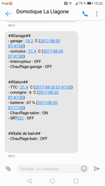 Exemple SMS domotique