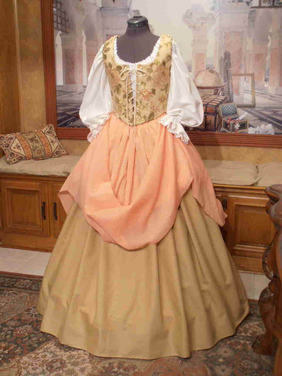 Peach and Tan Ensemble with Two Skirts  Faire Finery