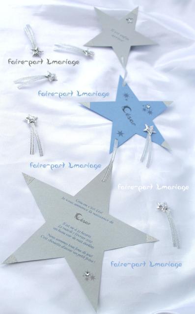 Faire-part naissance 3 étoiles filantes en argent et bleu