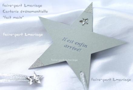 Faire-part naissance étoile en argent et bleu