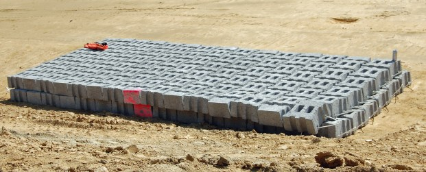 8-foot by 20-foot section of concrete blocks