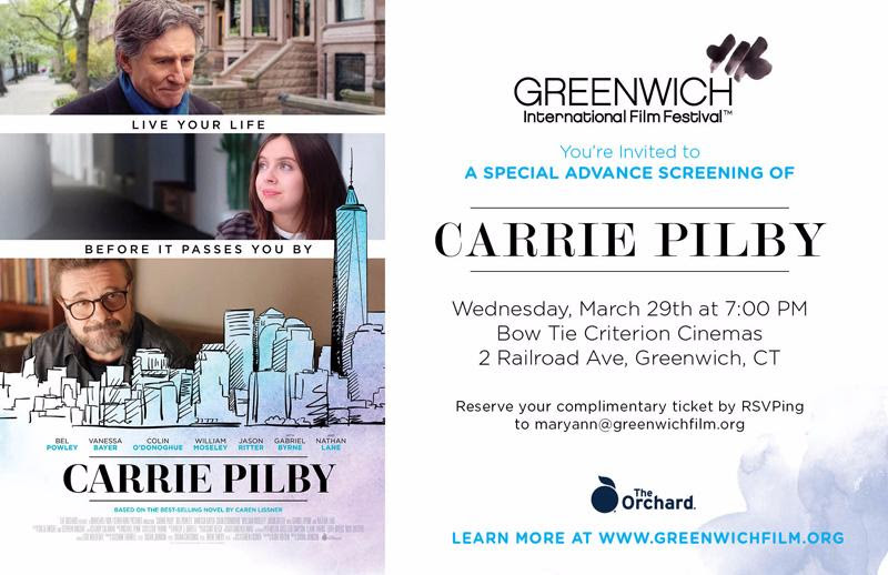 A Special Complimentary Screening of Carrie Pilby at Bow Tie Criterion Cinemas by Greenwich Int'l Film Festival