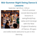 Mid-Summer Night Swing Dance & Lessons at New Canaan Pop Up Park