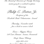 Honoring Philip C. Potter, Jr. Recipient of the Elizabeth Bush Volunteerism Award at Tomes Higgins House