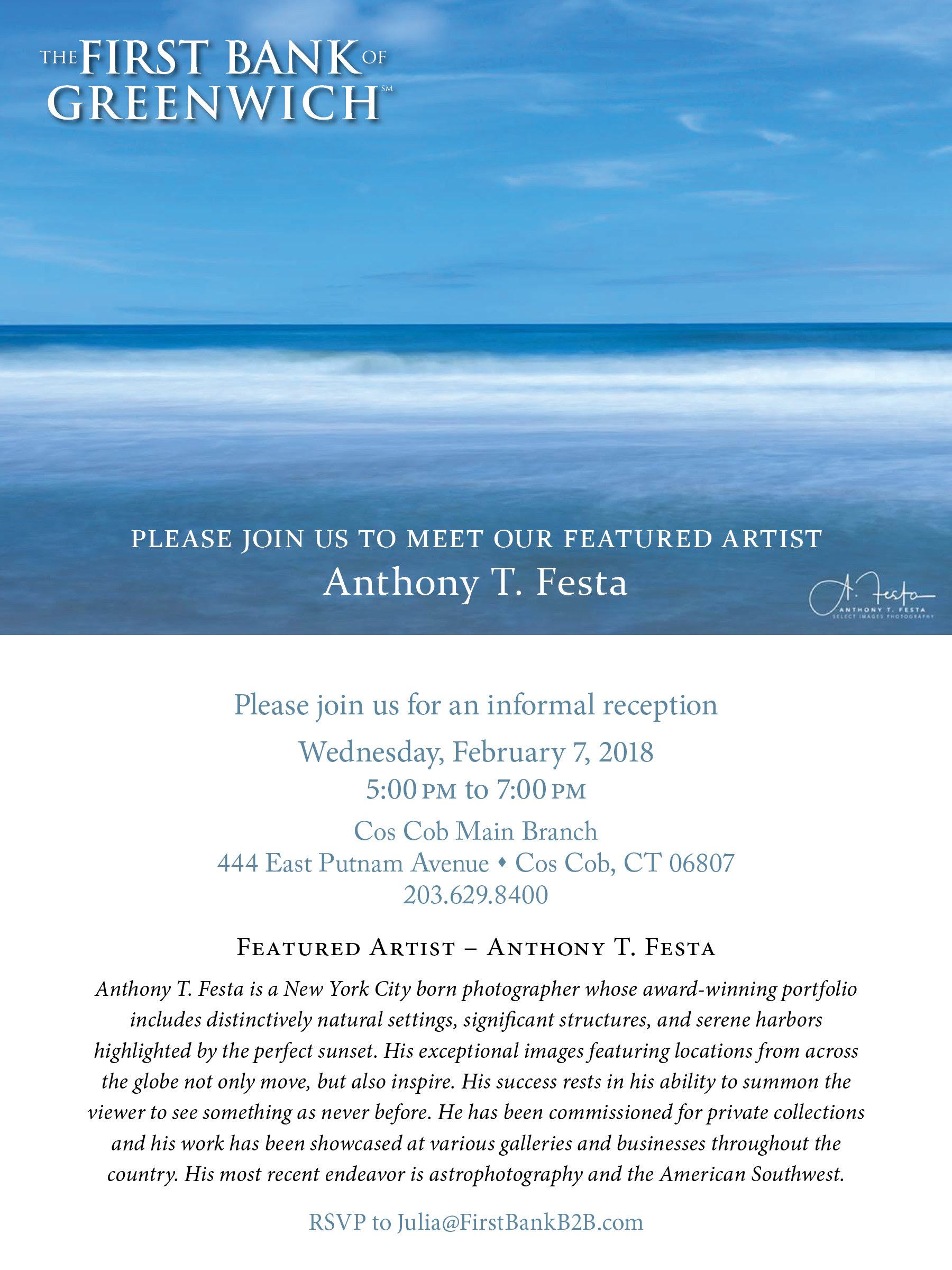 Artist Reception – Anthony Festa at First Bank of Greenwich Cos Cob Branch