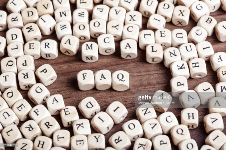 Word FAQ in letters on cube dices on table.