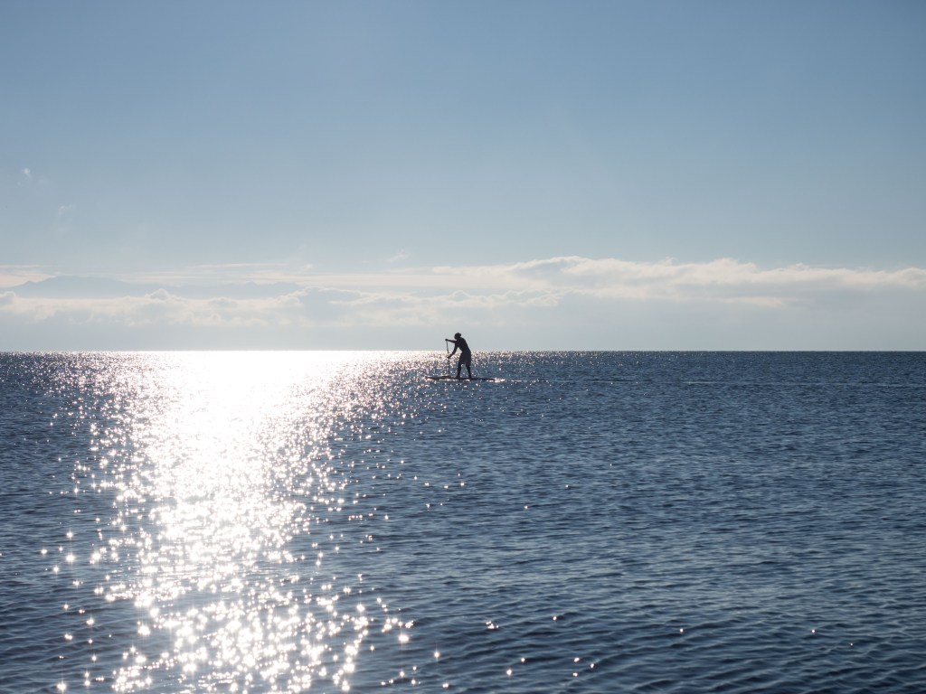Paddleboarding off the shore at Victoria British Columbia