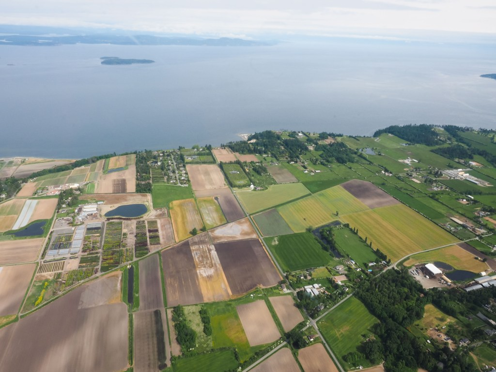 Aerial view of farms on Saanich Peninsula