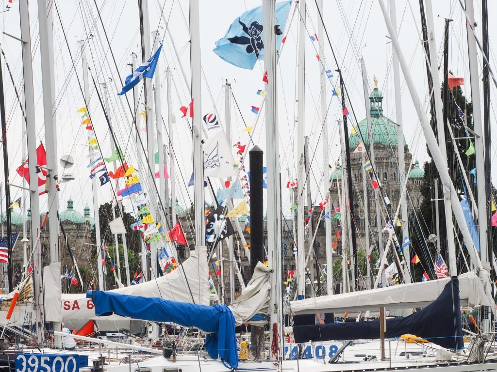 Boats in the Inner Harbour, Victoria, British Columbia prior to Swiftsure Yacht race