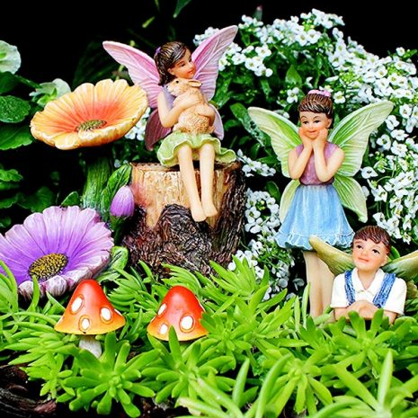 Fairy Garden Flower Stump Set 2