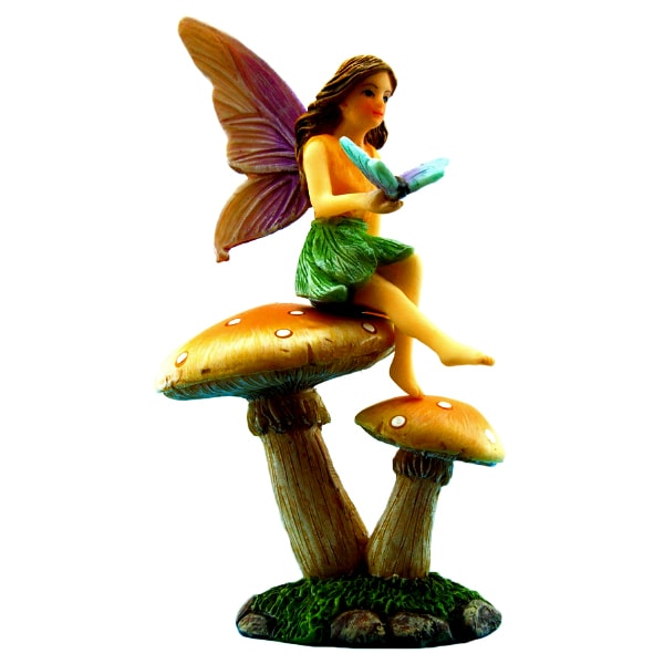 Fairy With Butterfly on Mushroom