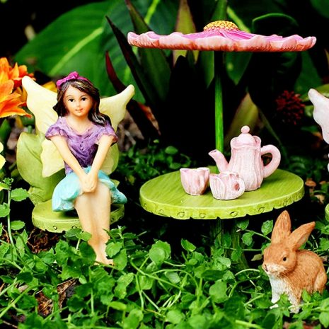 Fairy Figurine Set with Furniture & Tea Set 2