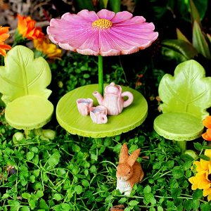 Fairy Garden Set with Figurines, Miniature Furniture and Tea Set by Pretmanns