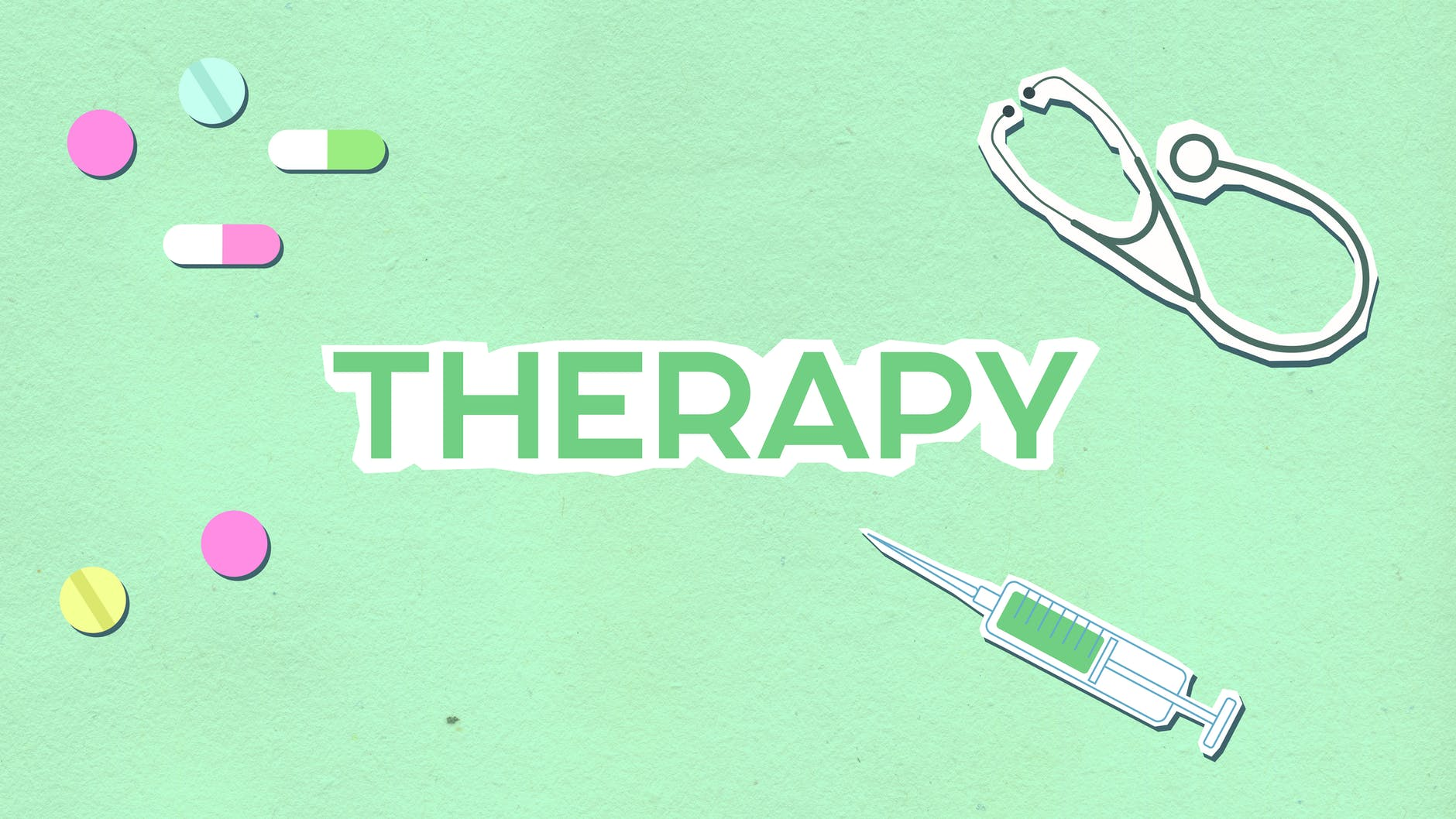 cutout paper illustration of therapy title among medications and tools