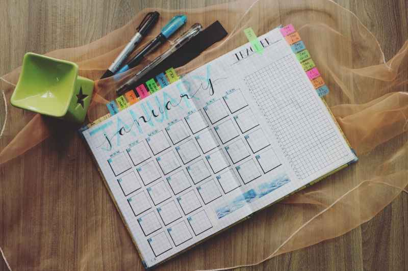 photo of planner and writing materials