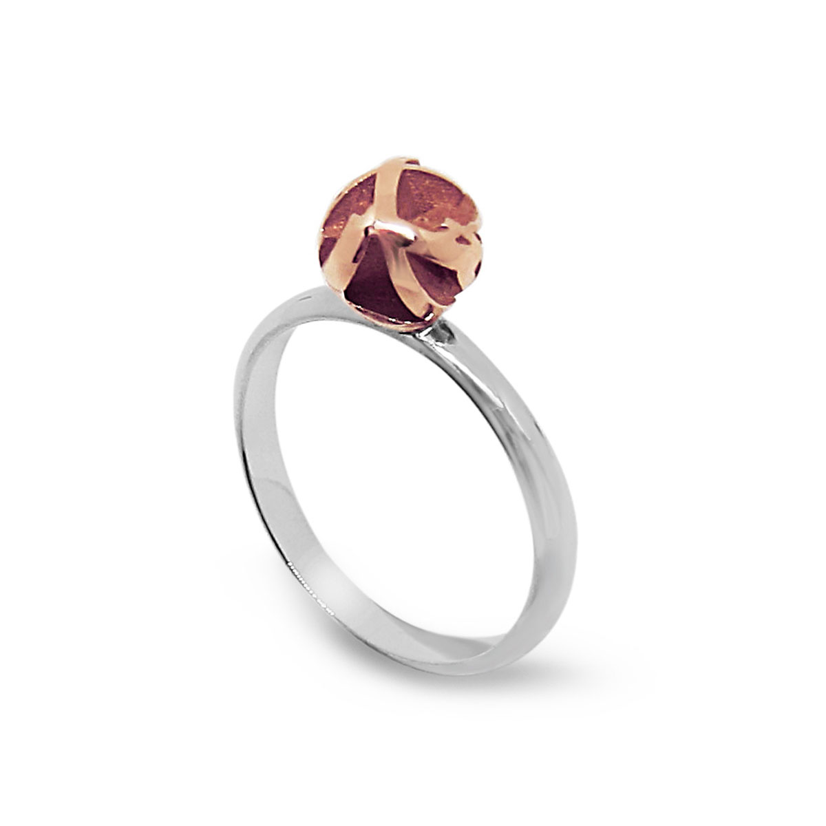 Rose gold and silver 3D print ring  Fairina Cheng Jewellery