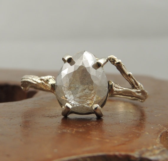 Pear-shaped, rose cut silver diamond branch engagement ring - Fairly Southern