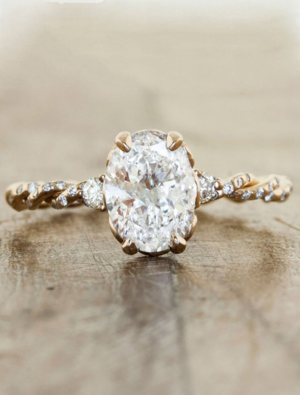 """Shanel"" Diamond Engagement Ring with Twisted Rose Gold Band - Fairly Southern"