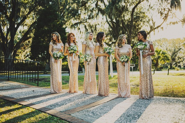 Gold Sequined Badgley Mischka Bridesmaid Dresses - Fairly Southern