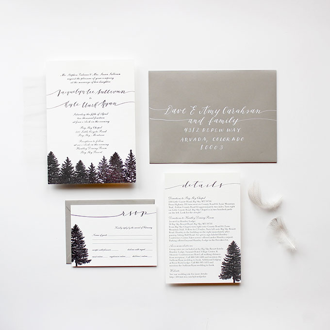 Evergreen Winter Wedding Stationery - Fairly Southern