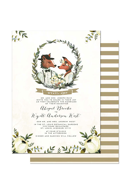 """Foxes in Love"" Winter Wedding Stationery - Fairly Southern"