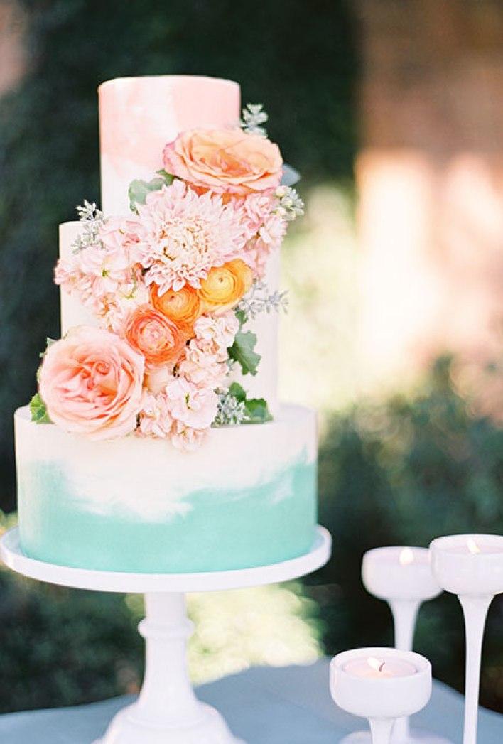 Peach and Aqua Watercolor Wedding Cake - Fairly Southern