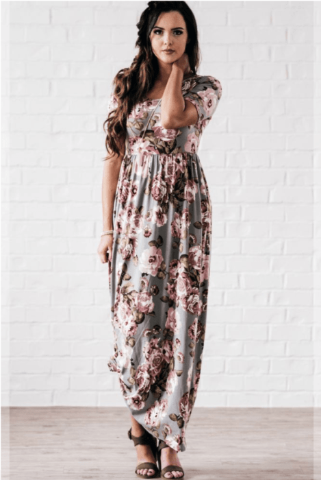 The Everyday Maxi in Taupe Floral from The Flourish Market. Ethically made in the USA!   Fairly Southern
