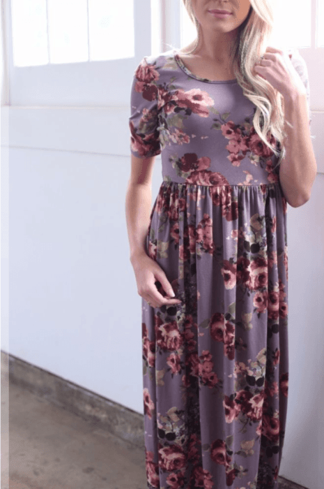 The Everyday Maxi in Plum Floral from The Flourish Market. Ethically made in the USA!   Fairly Southern