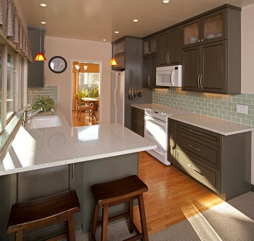 Eco-friendly IceStone countertops in Olive + Seafoam Kitchen | Fairly Southern