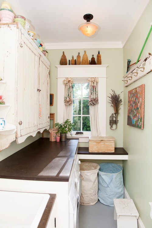 Shabby Chic Laundry Room with eco-friendly PaperStone countertops | Fairly Southern