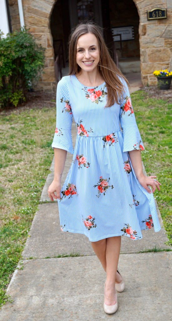 Spring Ethical Fashion Trends  |  Patterns on Patterns  |  Floral on blue stripe dress  |  Fairly Southern