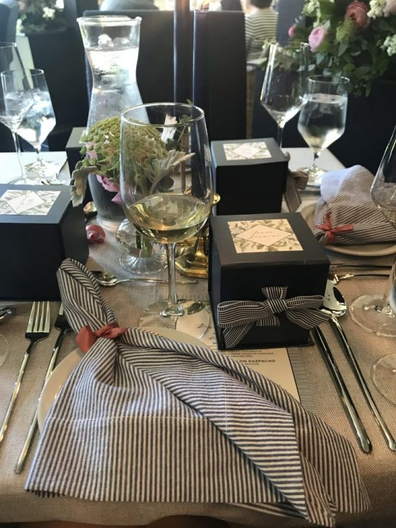 Wedding table setting navy and white striped napkins  |  Fairly Southern