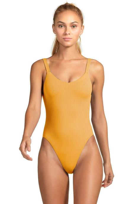 Vitamin A orange eco rib swimsuit  |  Sustainable and Ethically Made Swimwear for Women, Men, and Kids  |  Fairly Southern