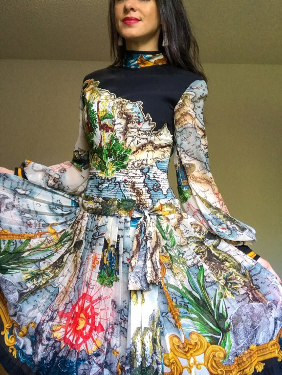 Vintage world map dress - Southerner Spotlight: Reseller Extraordinaire Holly Taylor  |  Fairly Southern