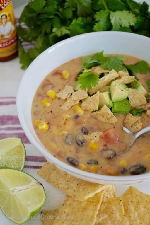 Mexican Tortilla Soup - 10 Easy & Delicious Vegetarian Recipes  |  Fairly Southern