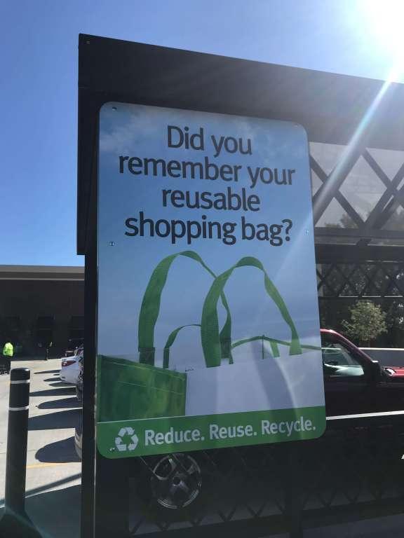 Reusable shopping bag reminder sign at Wegmans  |  Fairly Southern