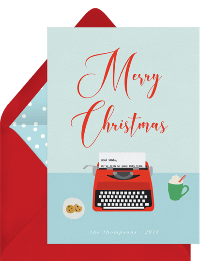 Dear Santa Card by Greenvelope | 10 Gorgeous & Sustainable Holiday Greeting E-Cards | Fairly Southern