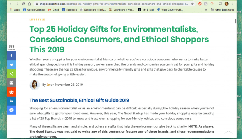 Top 25 Holiday Gifts for Environmentalists, Conscious Consumers, and Ethical Shoppers this 2019 by The Good Startup - The Best Ethical & Sustainable Gift Guides of 2019 | Fairly Southern