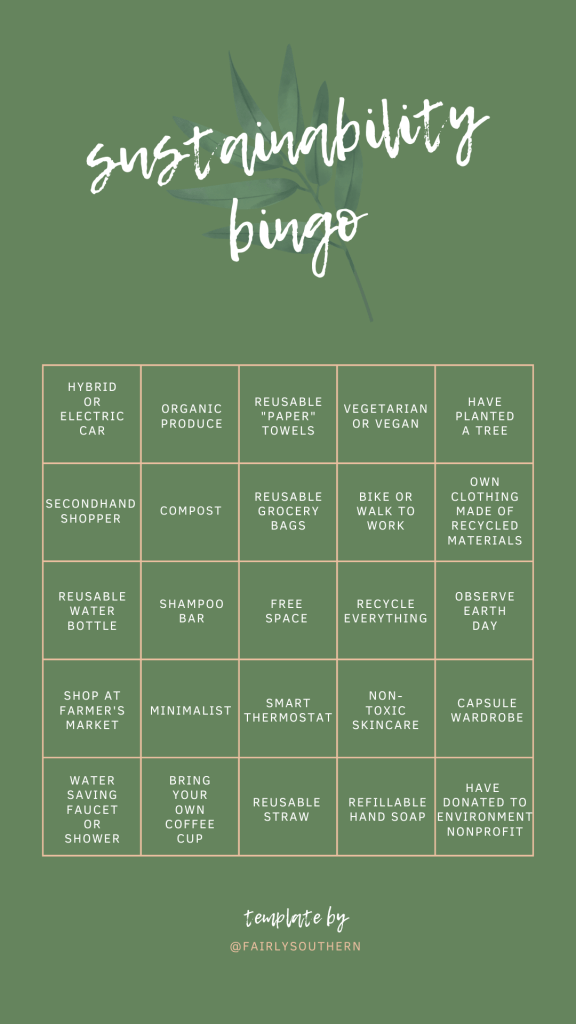 Sustainability Instagram Bingo Template  |  Fairly Southern